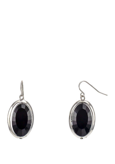 Jet Black Framed Oval Drop Earrings