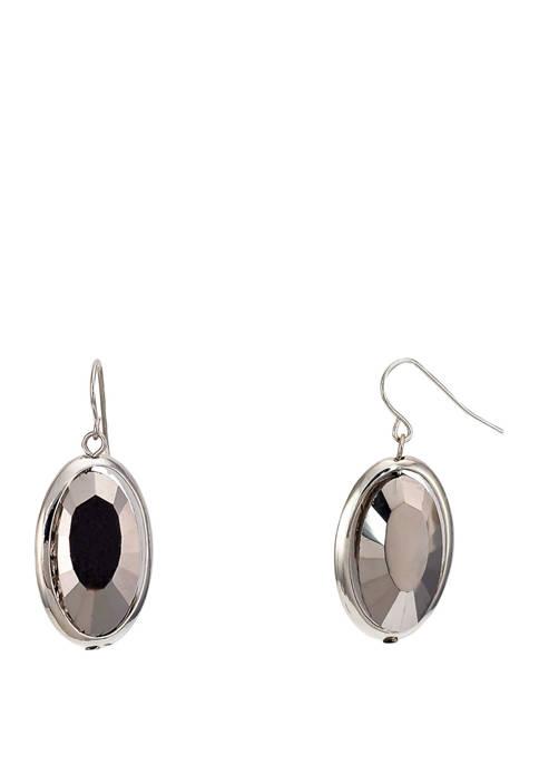 Kim Rogers® Jet Black Framed Oval Drop Earrings