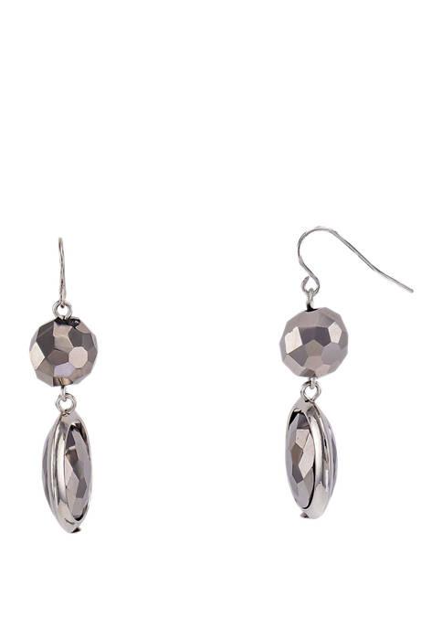 Jet Black Double Drop Earrings