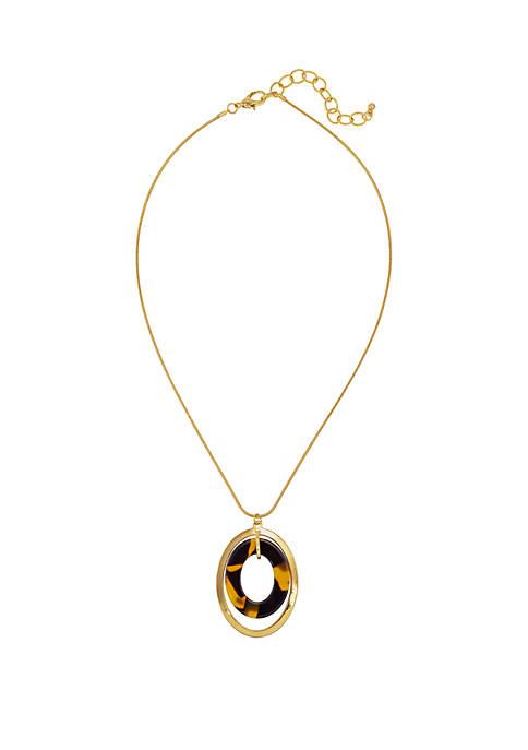 Kim Rogers® Tortoise Gold Double Open Oval Pendant