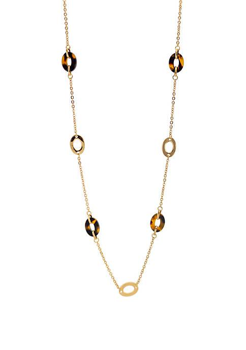 Kim Rogers® Tortoise Gold Open Link Long Necklace