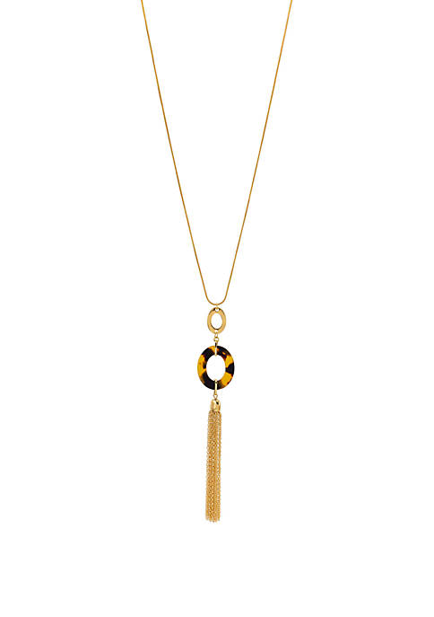 Tortoiseshell Gold Tone Long Double Open Oval Tassel Necklace