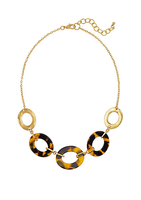 Kim Rogers® Tortoise Gold Open Link Frontal Necklace