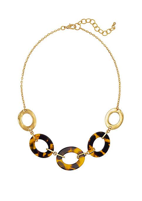 Belk Tortoise Gold Open Link Frontal Necklace