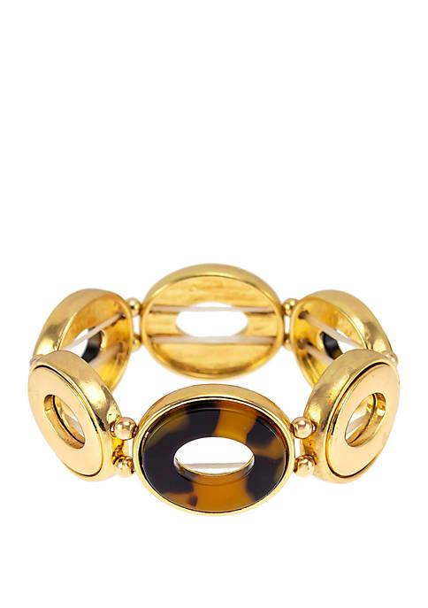 Kim Rogers® Tortoiseshell Gold Tone Link Stretch Bracelet
