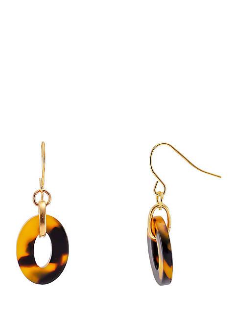 Kim Rogers® Tortoise Gold Tone Link Drop Earrings