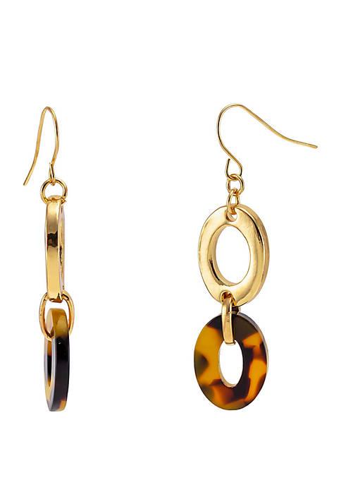Tortoise Gold Tone Double Link Drop Earrings