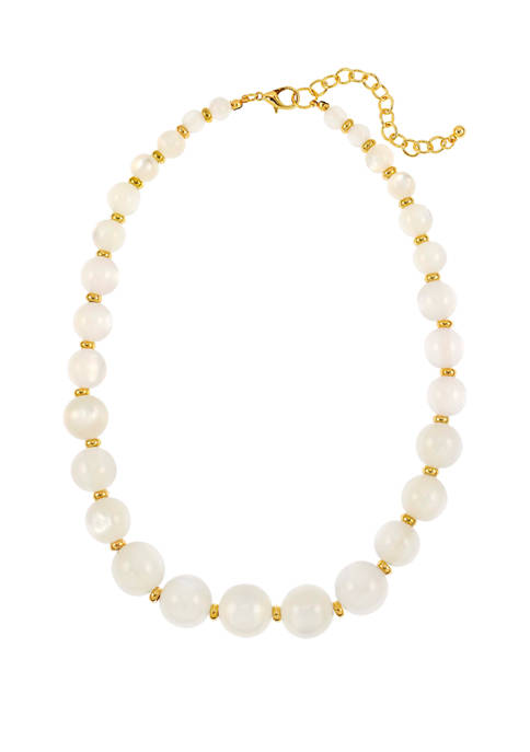 White and Gold One Row Necklace