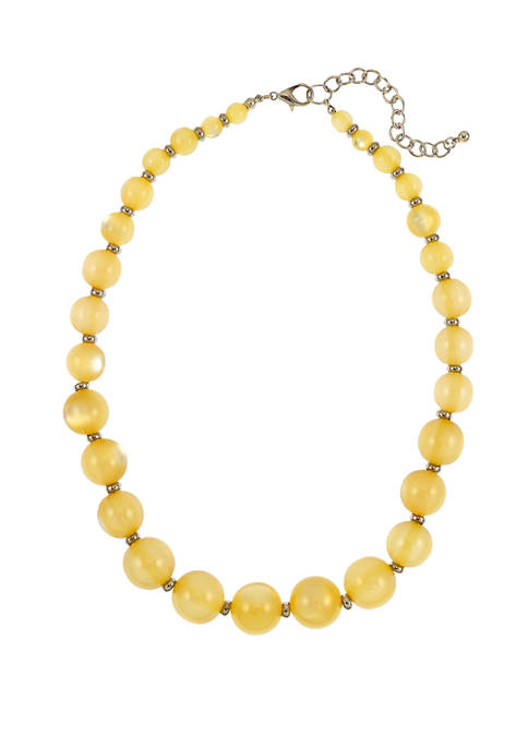 Kim Rogers® Yellow and Silver One Row Necklace