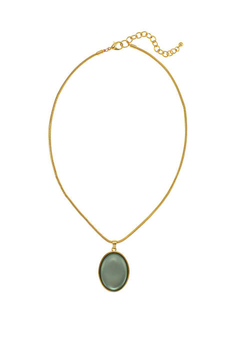 Kim Rogers® Green Oval Pendant Necklace