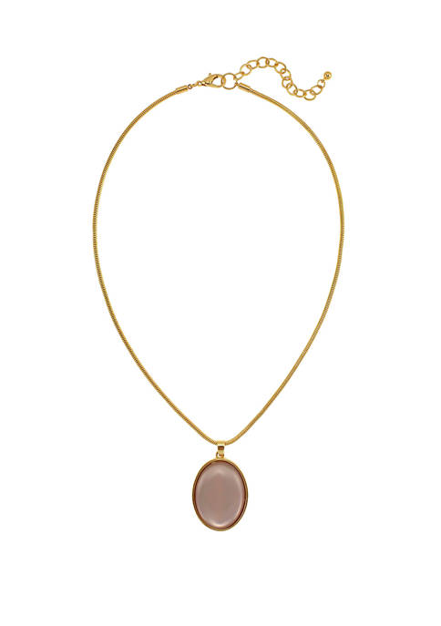 Kim Rogers® Pink Oval Pendant Necklace