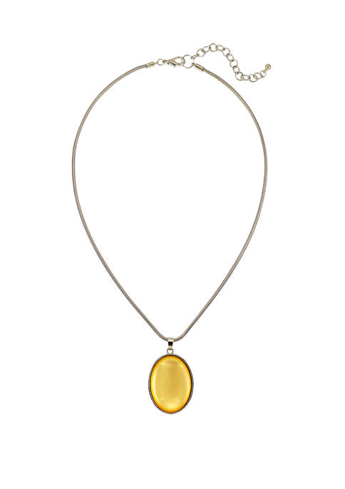 Kim Rogers® Yellow and Silver Short Oval Pendant
