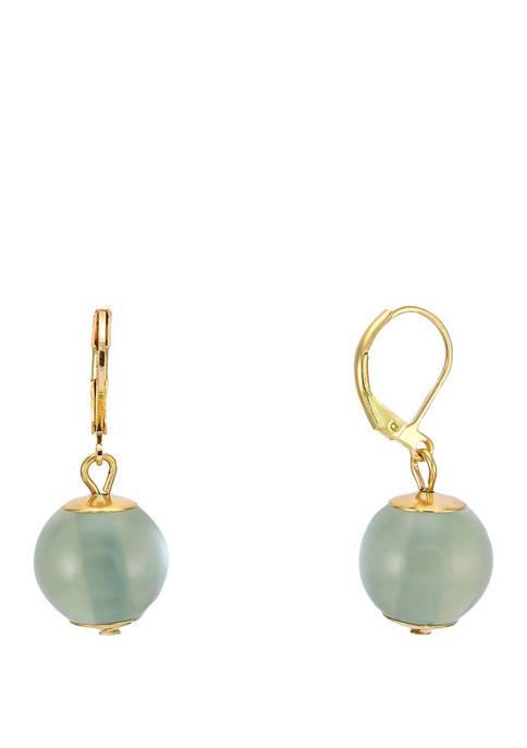Green Pearl Single Bead Drop Gold Tone Earrings