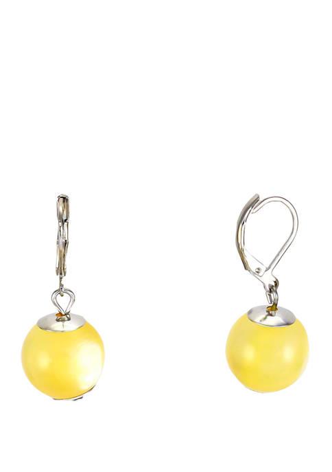 Yellow Single Bead Drop Earrings