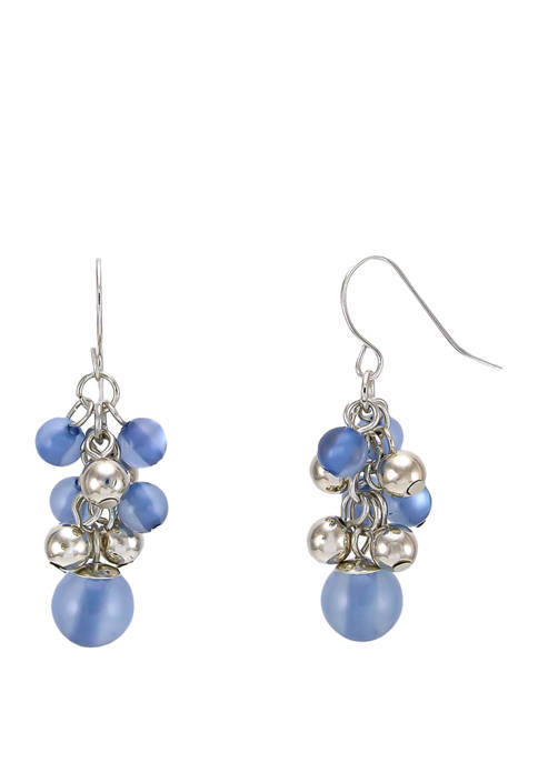 Blue Pearl Sleeve Shaky Cluster Drop Earring