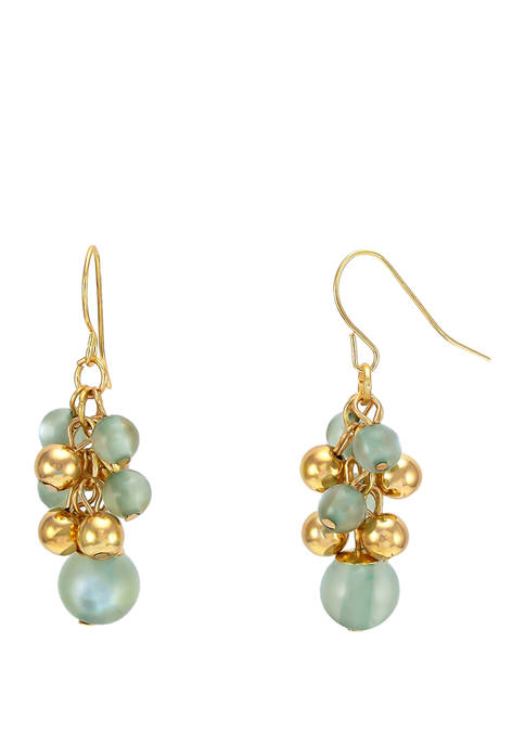 Kim Rogers® Green Pearl Shaky Cluster Gold Tone