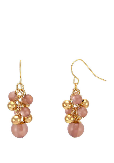 Pink Pearl Shaky Cluster Gold Tone Drop Earrings