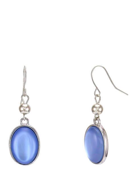 Kim Rogers® Blue Bead Double Drop Silver Tone