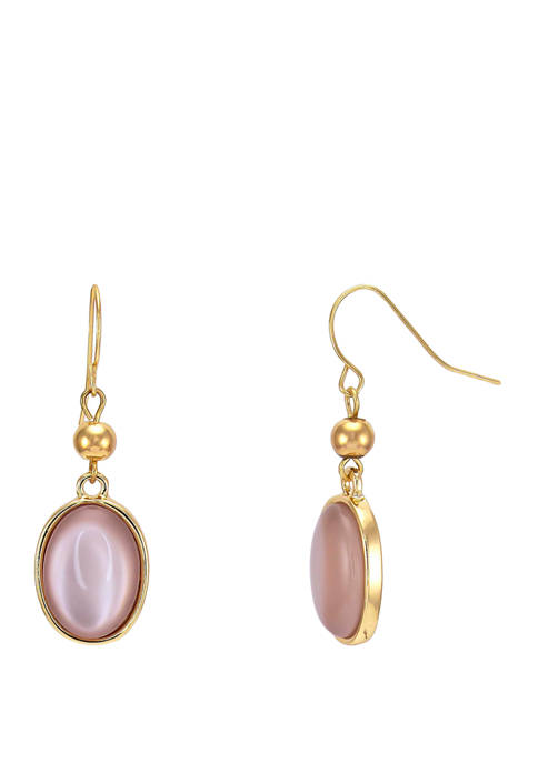 Kim Rogers® Pink Bead Cable Double Drop Gold