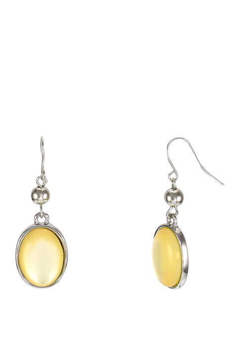 Yellow Bead Double Drop Earrings