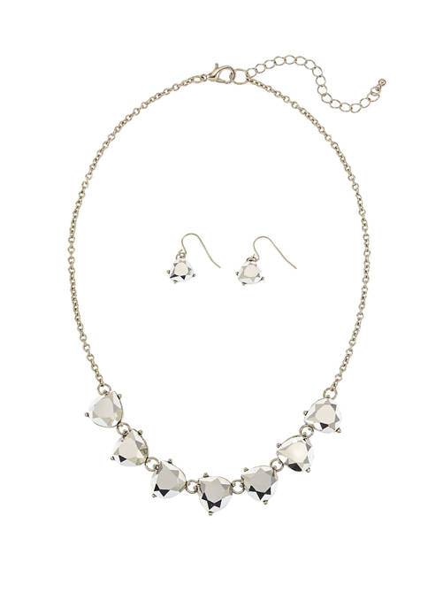 Kim Rogers® Silver Tone Silver Stone Frontal Necklace