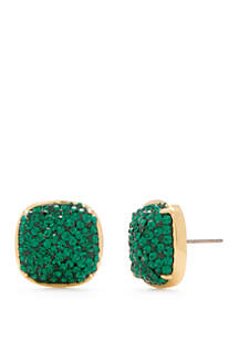 Clay Pave Small Square Stud Earrings