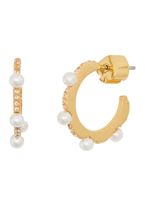 Slender Scallops Pearl Huggie Earrings