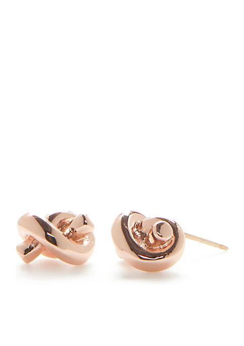 Rose Gold-Tone Sailors Knot Stud Earrings