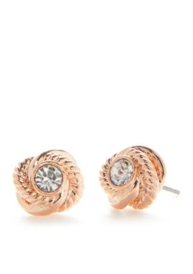 Kate Spade New York Women Rose Gold-Tone Infinity And Beyond Knot Stud Earrings