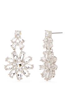 Silver-Tone Crystal Garden Drop Earrings