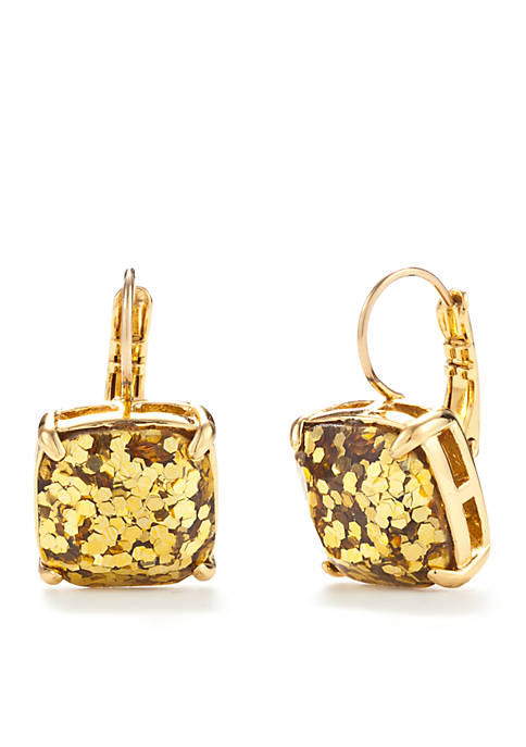 Gold-Tone Small Square Drop Earrings