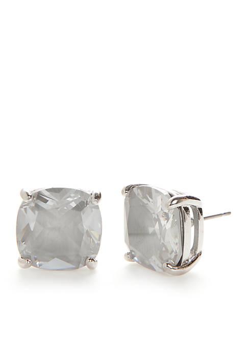 Silver-Tone Enamel Grey Square Stud Earrings