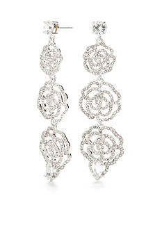 kate spade new york® Silver-Tone Crystal Rose Linear Earrings