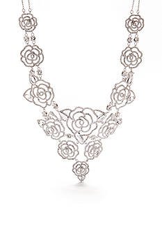 kate spade new york® Silver-Tone Crystal Rose Statement Necklace