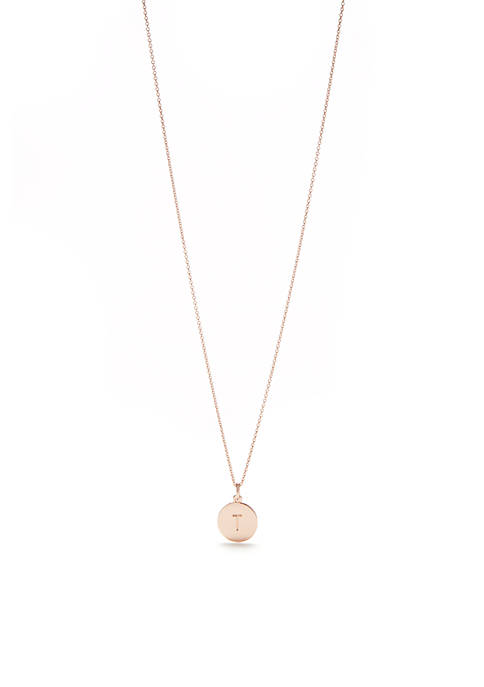 One In A Million Rose Gold Tone Initial Disc Pendant Necklace