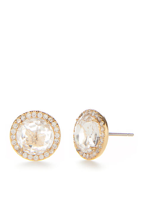 Rose Gold-Tone Glitz And Glam Pave Halo Stud Earrings
