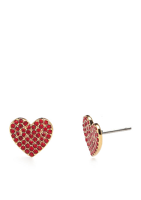 kate spade new york® Gold-Tone Pave Heart Stud