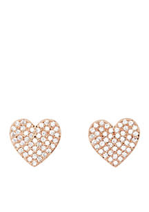 Kate Spade New York Rose Gold Tone Pave Heart Stud Earrings