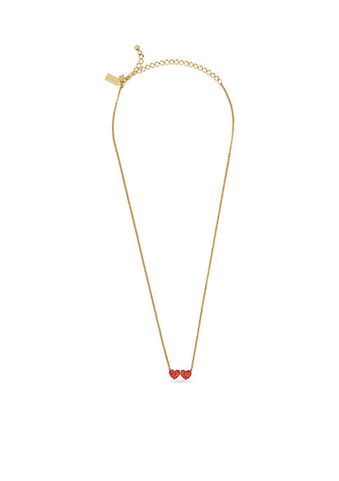 kate spade new york® Gold-Tone Pave Double-Heart Pendant