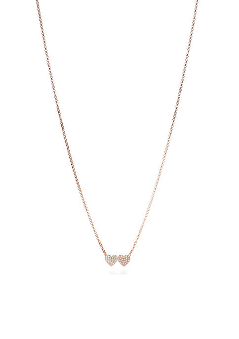 kate spade new york® Rose Gold-Tone Pave Double-Heart
