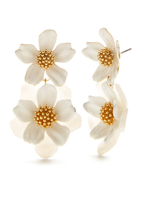 Gold-Tone Floral Mosaic Drop Earrings