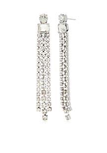 Silver-Tone Stone Tennis Bracelet
