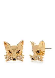 Gold-Tone Fox Stud Earrings
