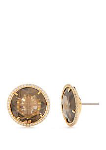 Gold-Tone Crystal Stud Earrings