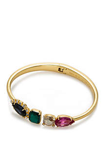 Gold-Tone Open Hinged Bangle Bracelet