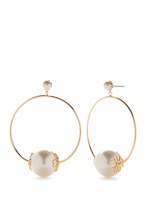Gold Tone Pearl Hoop Earrings