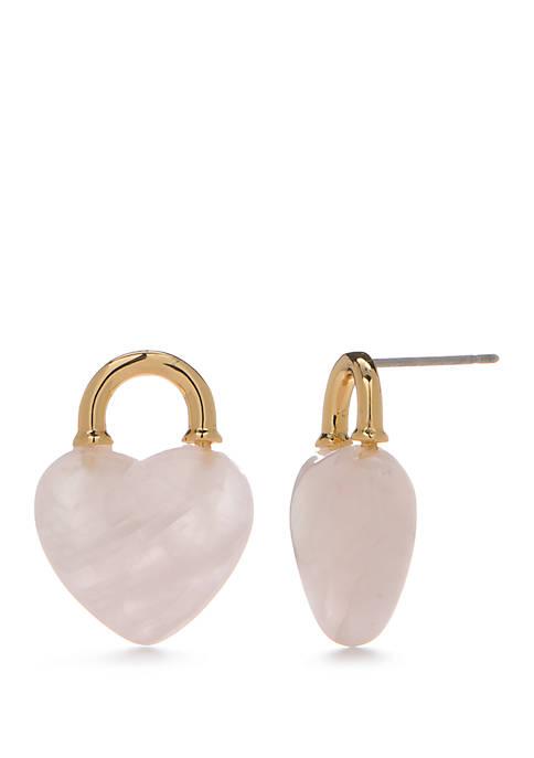 Stone Lock Stud Earrings