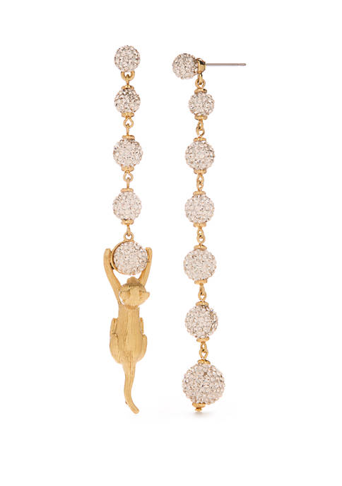 Gold Tone Pave Linear Earrings