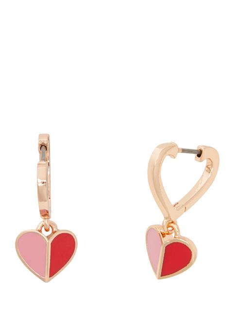kate spade new york® Enamel Heart Huggie Earrings