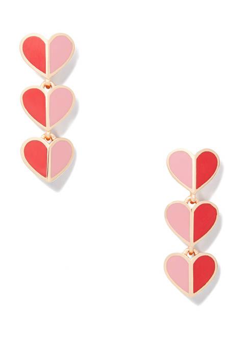 kate spade new york® Enamel Heart Linear Earrings